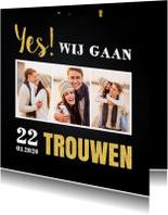 Trouwkaarten - Trouwkaart fotocollage krijtbord