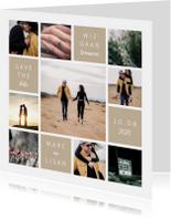 Trouwkaarten - Trouwkaart fotocollage 'Wij gaan trouwen'