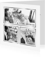 Trouwkaarten - Trouwkaart fotocollage wit