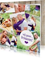 Trouwkaarten - Trouwkaart fotocollage