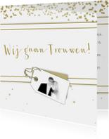 Trouwkaarten - Trouwkaart goud en wit C RB