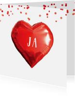 Trouwkaarten - Trouwkaart hart confetti in rood