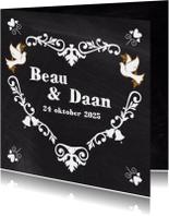 Trouwkaarten - Trouwkaart hart op krijtbord