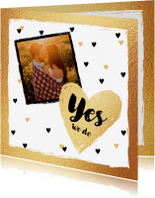 Trouwkaarten - Trouwkaart hartjes en eigen foto, hip met goud