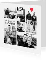 Trouwkaarten - Trouwkaart hip foto collage zwart-wit