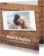 Trouwkaarten - Trouwkaart hout foto stempel