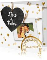 Trouwkaarten - trouwkaart hout met hartje