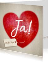 Trouwkaarten - Trouwkaart karton en hart