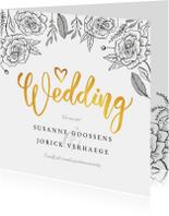 Trouwkaarten - Trouwkaart klassiek met bloemen, goud en eigen foto