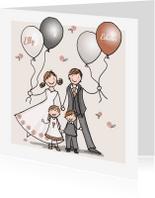 Trouwkaarten - Trouwkaart koper illustratie