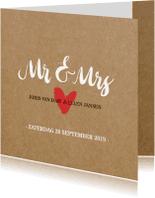 Trouwkaarten - Trouwkaart kraft Mr en Mrs