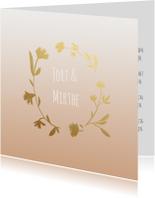Trouwkaarten - Trouwkaart krans goudlook-HM