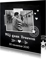 Trouwkaarten - Trouwkaart krijtbord foto