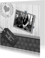 Trouwkaarten - Trouwkaart krijtbord hout