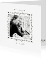 Trouwkaarten - Trouwkaart met Bloemen vierkant