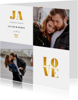 Trouwkaarten - Trouwkaart met foto en gouden accenten vierkant