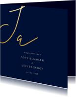 Trouwkaarten - Trouwkaart met gouden 'JA' vierkant