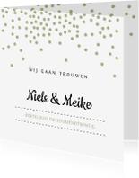 Trouwkaarten - Trouwkaart met groene confetti