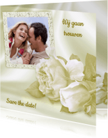 Trouwkaarten - Trouwkaart met rozen en foto