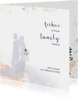 Trouwkaart met silhouet bruidspaar