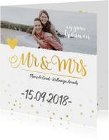 Trouwkaarten - Trouwkaart mr&mrs met foto goud