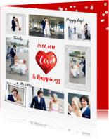 Trouwkaarten - Trouwkaart of bedankkaart fotocollage hart rood