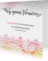 Trouwkaarten - Trouwkaart Oosters aquarel