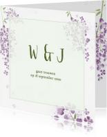 Trouwkaarten - Trouwkaart paarse seringen