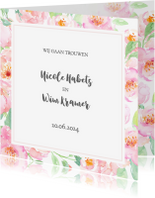 Trouwkaarten - Trouwkaart pastel rozen met kader