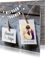 Trouwkaarten - trouwkaart polaroid