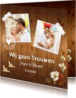 Trouwkaarten - Trouwkaart romantisch bloemen hout