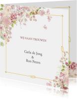 Trouwkaarten - Trouwkaart roosjes met kader