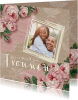 Trouwkaarten - Trouwkaart rozen kraftlook foto