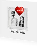 Trouwkaart save the date folie ballon hart