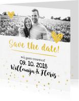 Trouwkaarten - Trouwkaart save the date goud met foto