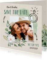 Trouwkaarten - Trouwkaart save the date hip en trendy met illustraties