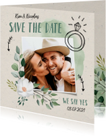 Trouwkaarten - Trouwkaart save the date hip en trendy met illustraties