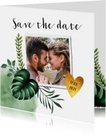 Trouwkaarten - Trouwkaart save the date in bohemian stijl met gouden hartje