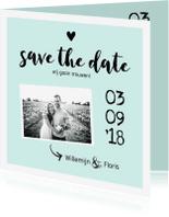 Trouwkaarten - Trouwkaart save the date met foto zwart/wit
