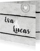 Trouwkaarten - Trouwkaart stempel hout print