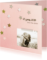 Trouwkaarten - Trouwkaart sterren goud roze