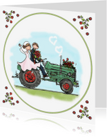 Trouwkaarten - Trouwkaart tractor groen rood