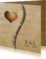 Trouwkaarten - Trouwkaart vintage papier hart