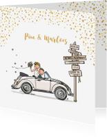 Trouwkaarten - Trouwkaart Volkswagen kever cabrio