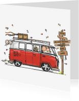 Trouwkaarten - Trouwkaart VW bus rood - AV