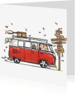 Trouwkaarten - Trouwkaart VW bus rood - AV