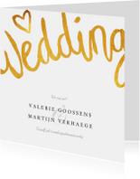 Trouwkaart wedding stijlvol en klassiek met goud en foto