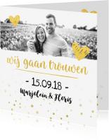 Trouwkaarten - Trouwkaart wij gaan trouwen met foto goud