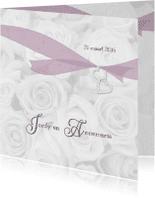 Trouwkaarten - Trouwkaart witte rozen en lint