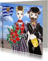 Trouwkaarten - Trouwkaart Zeeuws bruidspaar